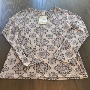 NWT Pretty Marika Tan & Black LS Yoga Top XL